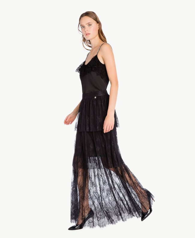 d20211b4f6 Long lace skirt Black QA7TCT-01