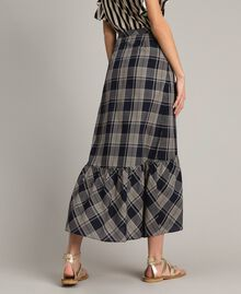 Long check cotton skirt Blue Shadow Check Jacquard Woman 191ST2133-03