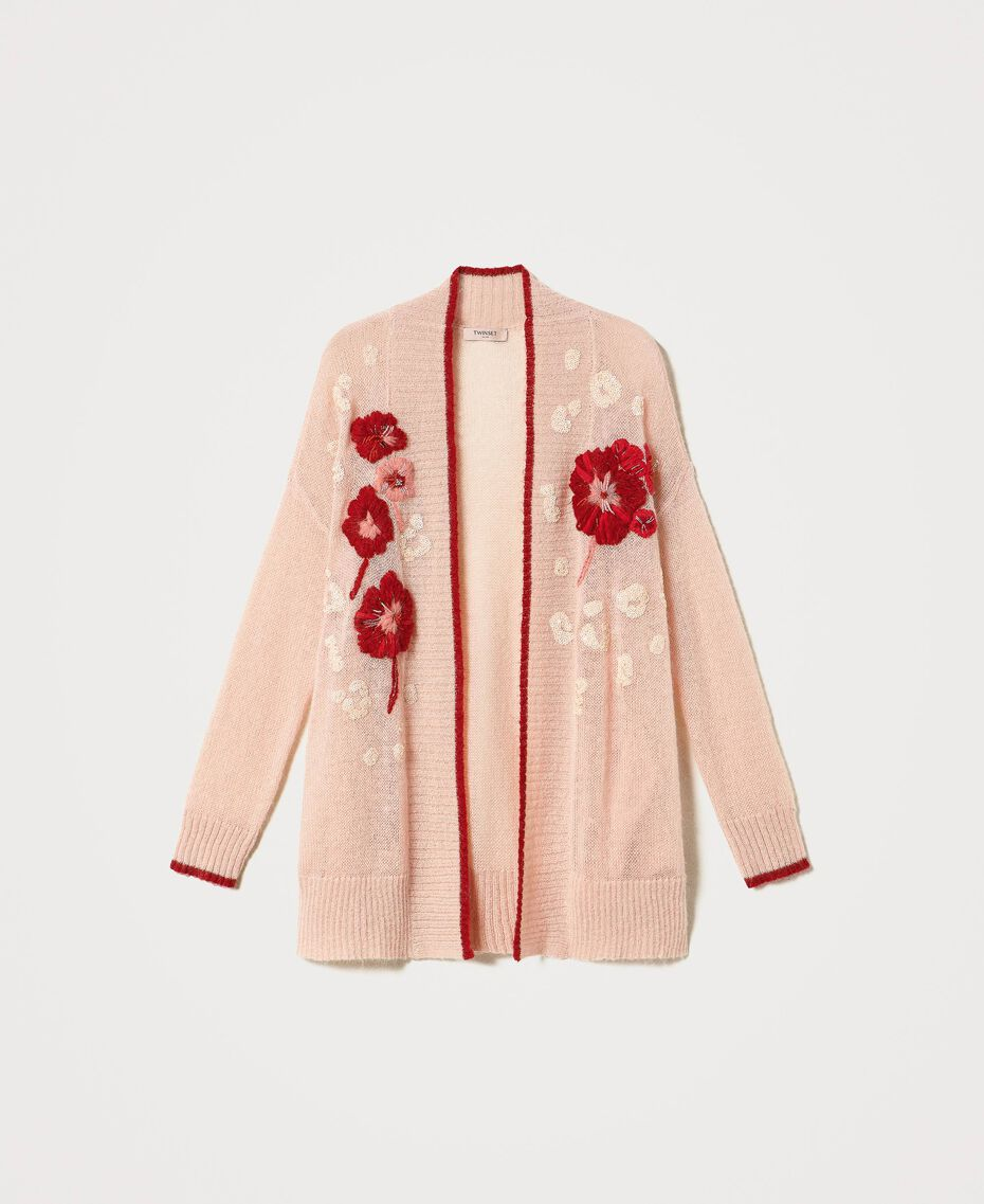Mohair blend cardigan with floral embroidery Peach Woman 202TP3431-0S