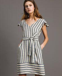"Two-tone striped linen dress Two-tone Black / ""Marzipan"" Beige Woman 191TT2315-02"