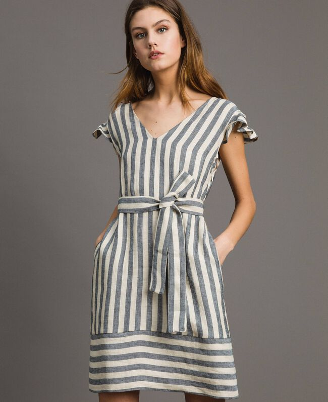 99c3a048c3d Two-tone striped linen dress Two-tone Black
