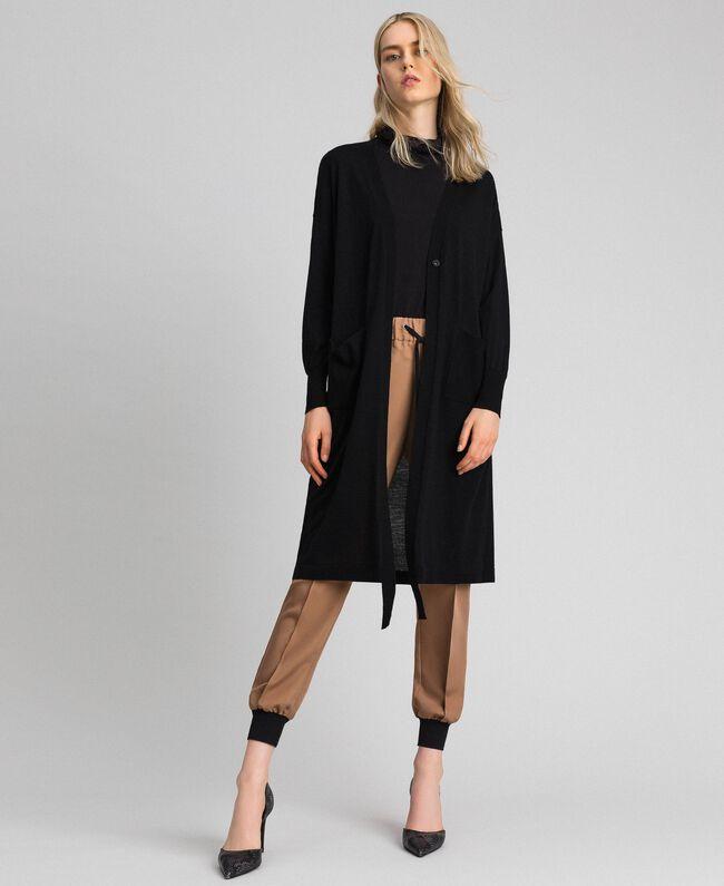 Maxi cardigan en laine mélangée Noir Femme 192ST3161-0T