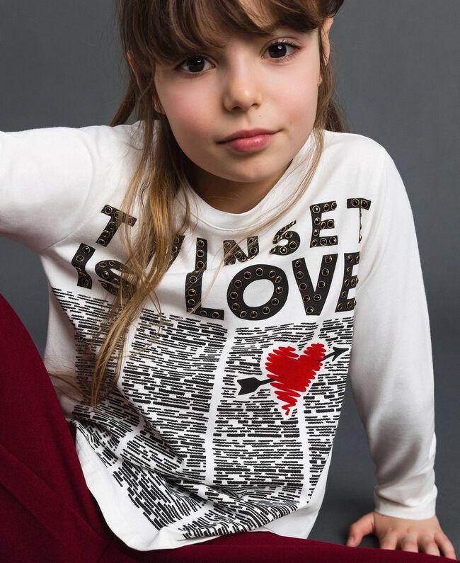 T-shirt avec imprimé et clous Imprimé Journal / Blanc Cassé Enfant 192GJ231B-04