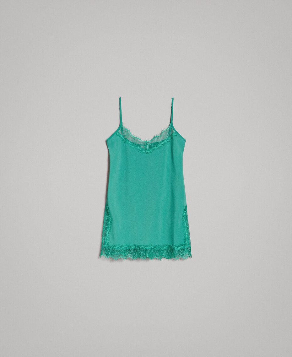 Crêpe de Chine top with lace Garden Green Woman 191ST2060-0S