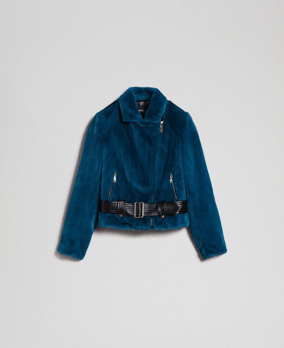 "Giacca chiodo in similpelliccia Blu ""Lake"" Donna 192MP2043-0S"