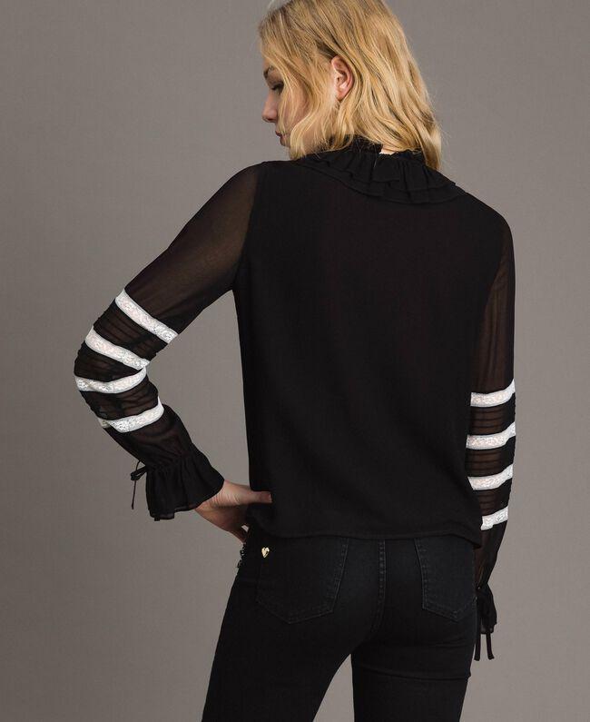 "Georgette and lace blouse Bicolour Black / ""Snow"" White Woman 191TP2122-03"