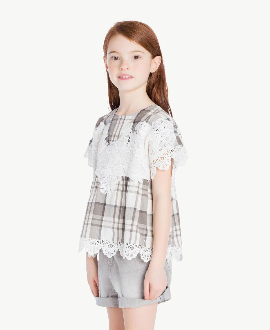 Lace blouse Chantilly Jacquard Check / Smoke Grey Child GS82JR-03