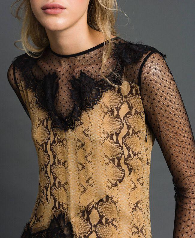 Robe longue en crêpe georgette à motif animalier Imprimé Python Camel Femme 192TT2271-04