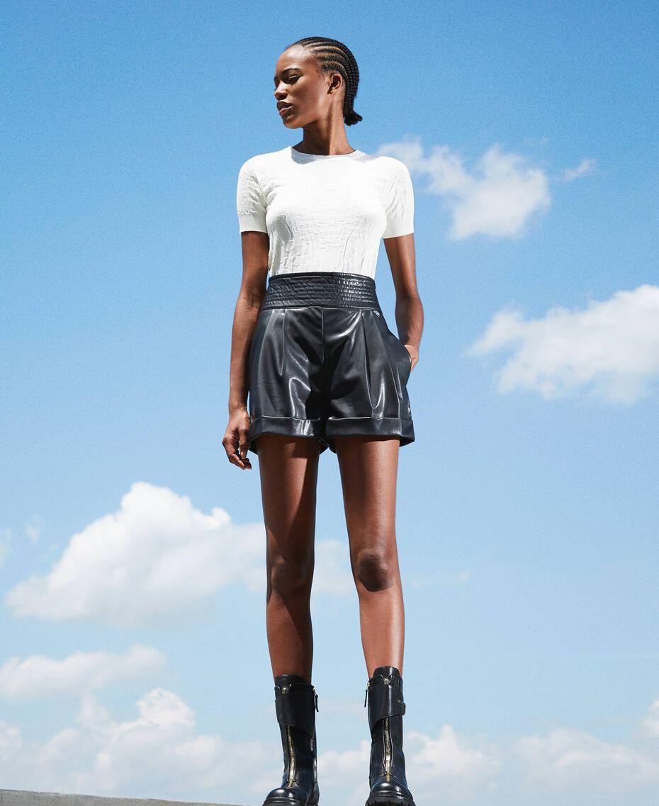 High waist faux leather shorts Black Woman 202TP2060-02
