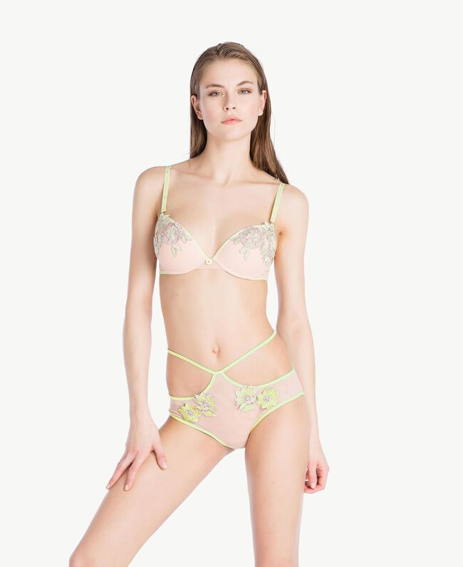 "High waisted embroidered briefs Two-tone ""Soft Lime"" Yellow / ""Peach Powder"" Pink Woman LS8F99-02"