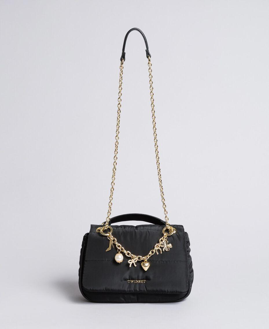 Tracolla in nylon con catena e charms Nero Donna AA8PFC-02