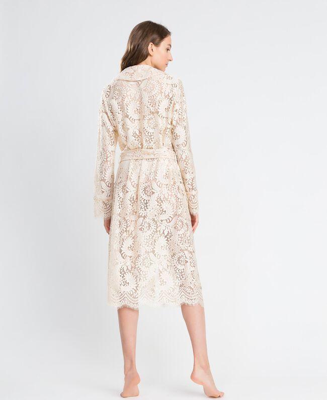Robe de chambre longue en dentelle Blanc Femme IA8CQQ-03