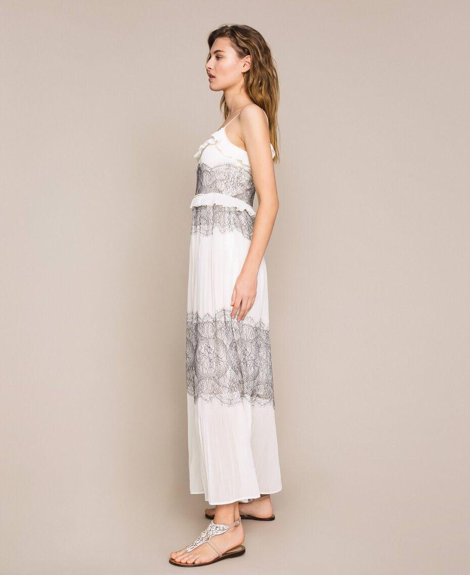 Robe longue plissée avec dentelle bicolore Blanc Neige Femme 201TT2143-03
