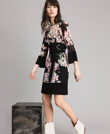 "Floral print georgette tunic dress ""Peach Flowers"" Pink Black Print Woman 191TP271B-01"