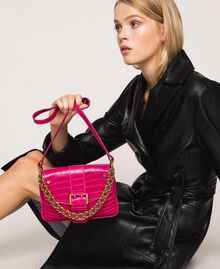 "Small Rebel shoulder bag with croc print ""Black Cherry"" Red Croc Print Woman 201TA7111-0S"