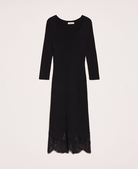Ribbed sheath dress with lace