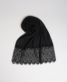 Knitted scarf with lace appliqués Black Woman 192TO536K-01