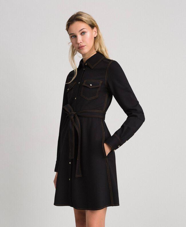 Robe chemisier effet jean Noir Femme 192MT2330-01