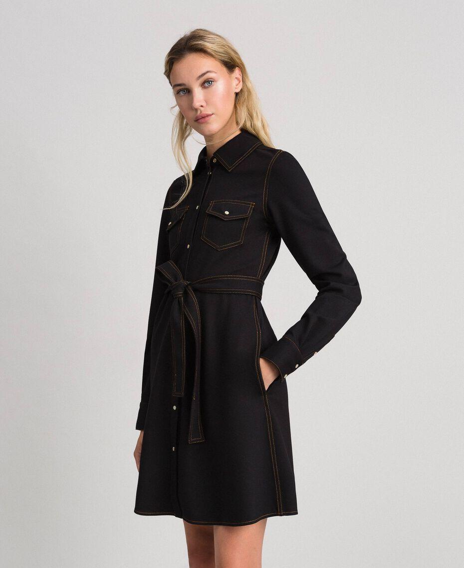 Denim effect shirt dress Black Woman 192MT2330-01