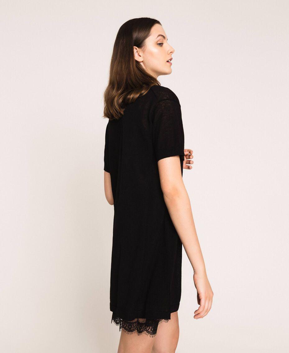 Minivestido de lino mixto con combinación Negro Mujer 201MT3021-02