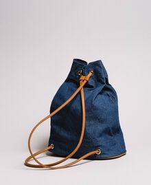 Bucket backpack with logo and heart Dark Denim Woman 191LB4ZPP-03