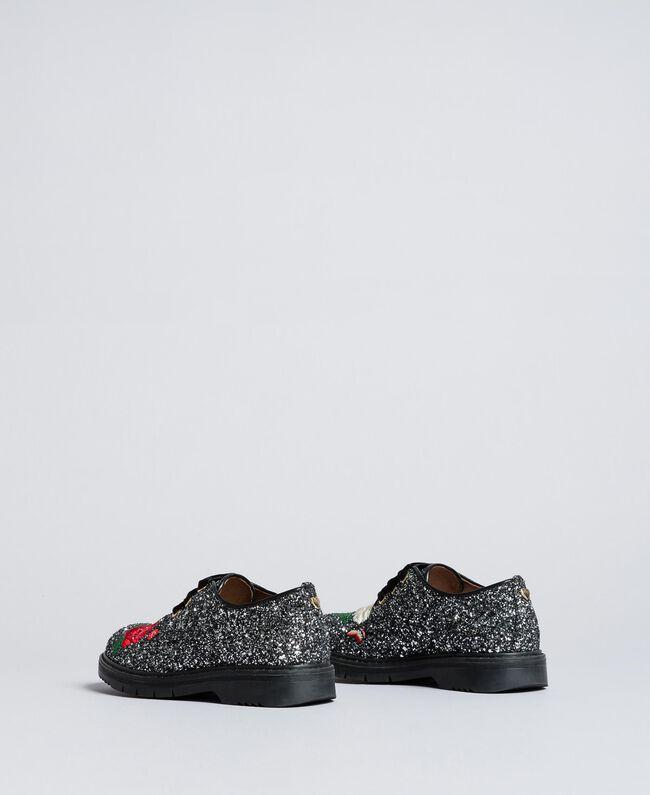 Schnürschuhe mit Glitter und Stickerei Zweifarbig Schwarz / Silberglitter Kind HA88C5-04