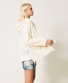 """Plush fabric cardigan with logo inserts Two-tone """"Snow"""" White / """"Off White"""" Woman 211TT3240-02"""