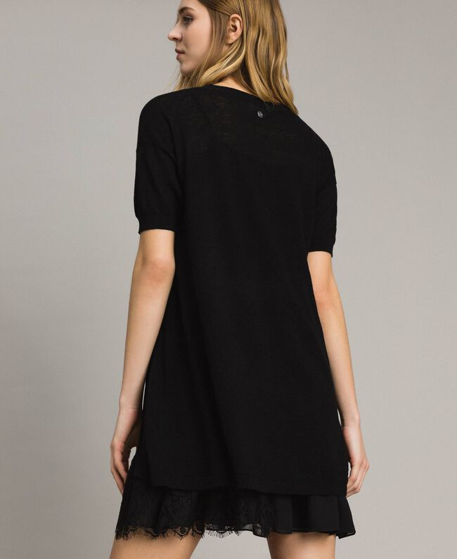 6d75342d6e4 Asymmetric linen blend dress Black Woman 191ST3102-04