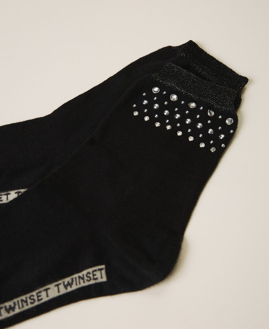 Socks with studs and bezels Black Woman 202TA4369-01