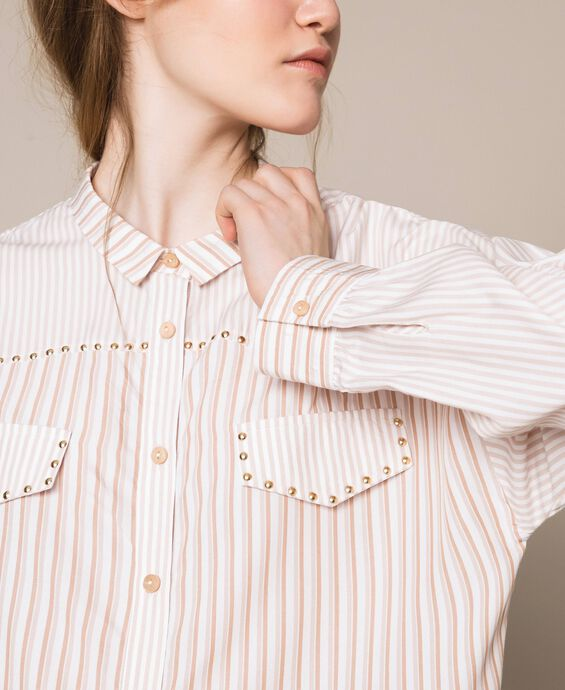 Long striped shirt with studs
