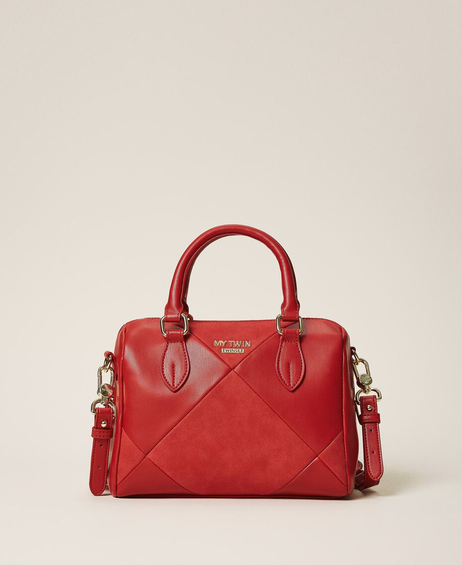 Faux leather bowler bag Cherry Red Woman 202MA7022-01
