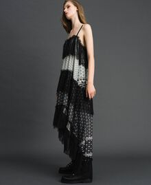 "Printed georgette long dress with lace Black and Vanilla ""Air De Neige"" Mix Print Woman 192MT2393-05"