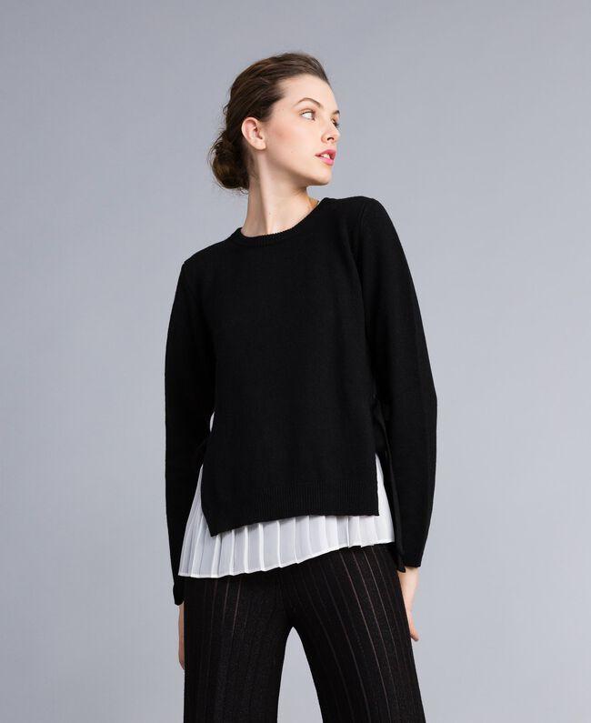 """Maglia in lana e cashmere con top plissé Bicolor Nero / Bianco """"Neve"""" Donna PA831C-01"""