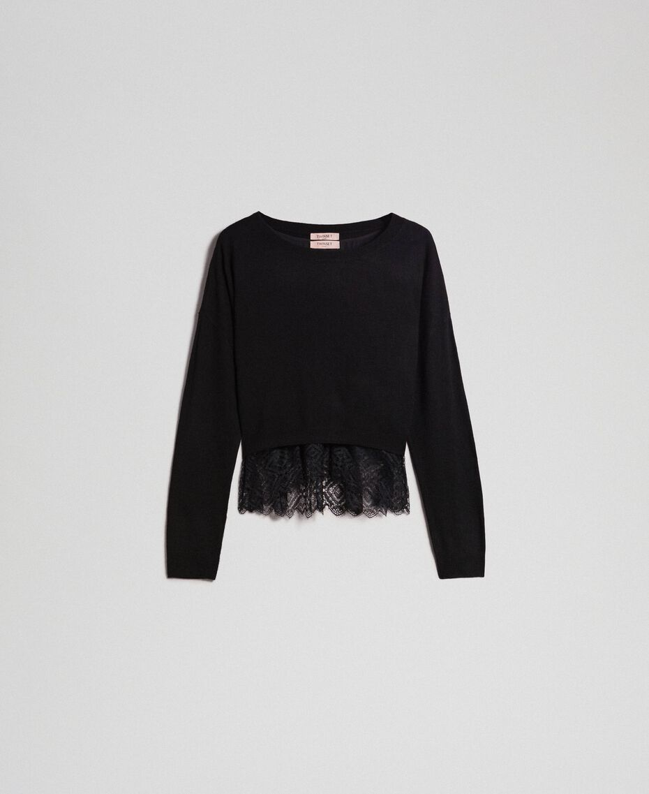 Boxy jumper with crêpe and lace top Black Woman 192TT3085-0S