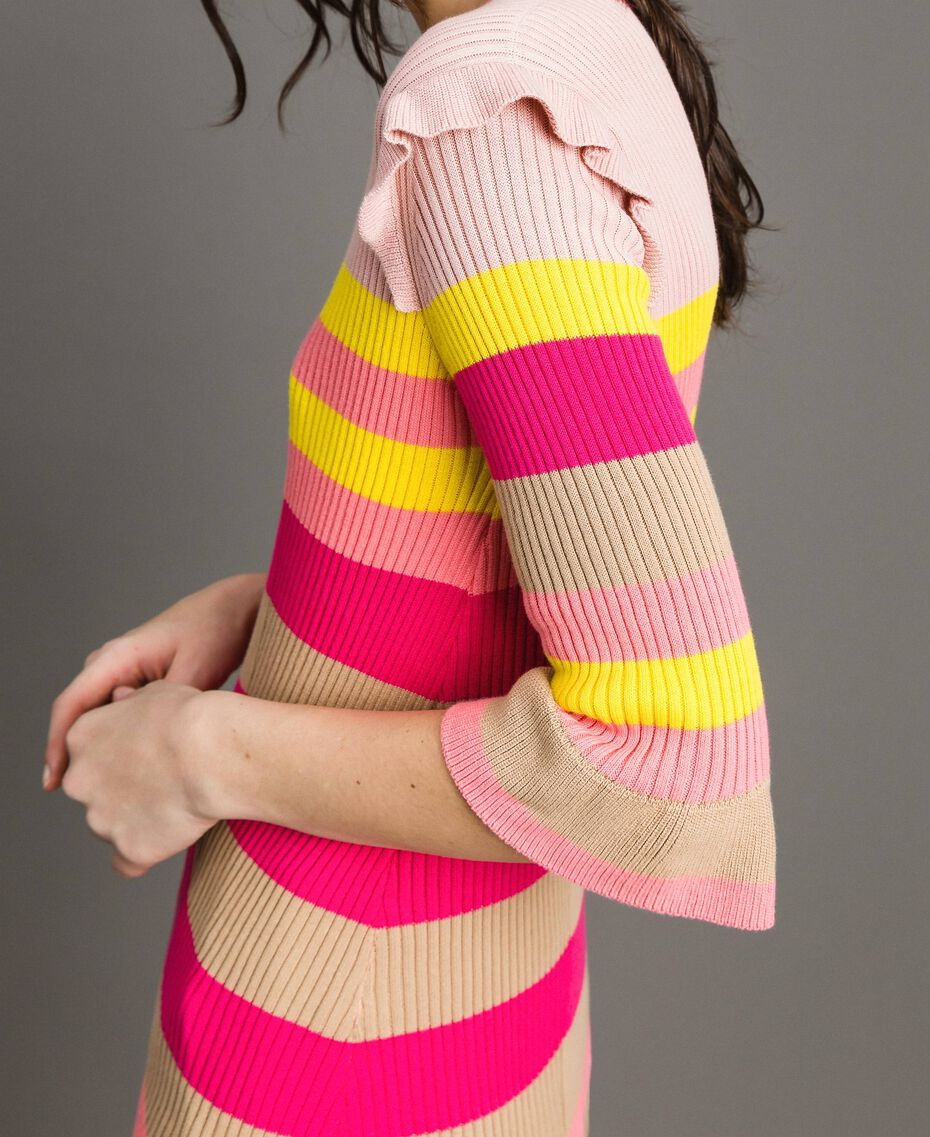 Striped top with ruffles Multicolour Rainbow Woman 191TP3270-01