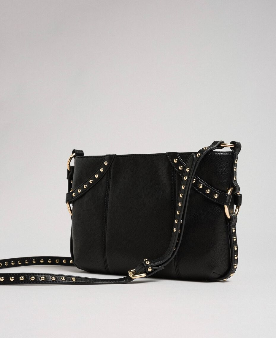 Faux leather shoulder bag with studs Black Woman 192TO8164-02
