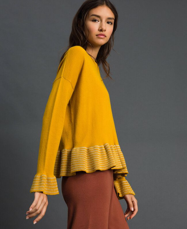 "Striped lurex jumper ""Nugget"" Yellow Striped / Silver Woman 192ST3082-01"