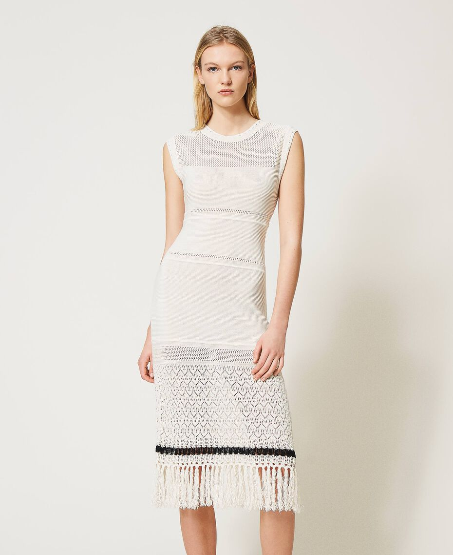 """""""Polis"""" midi dress with embroideries and fringes Vanilla / Black Woman 211MT3180-02"""