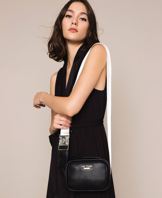Faux leather shoulder bag with gros-grain