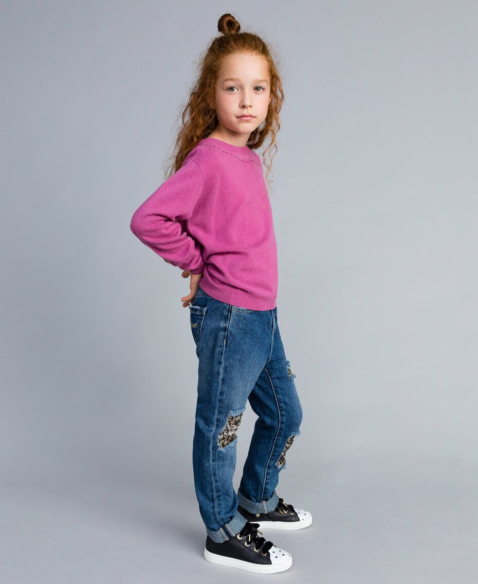 "Jeans in denim con paillettes Bicolor Blu Denim / Paillettes Rosa ""Bouganville"" Bambina GA82PD-02"
