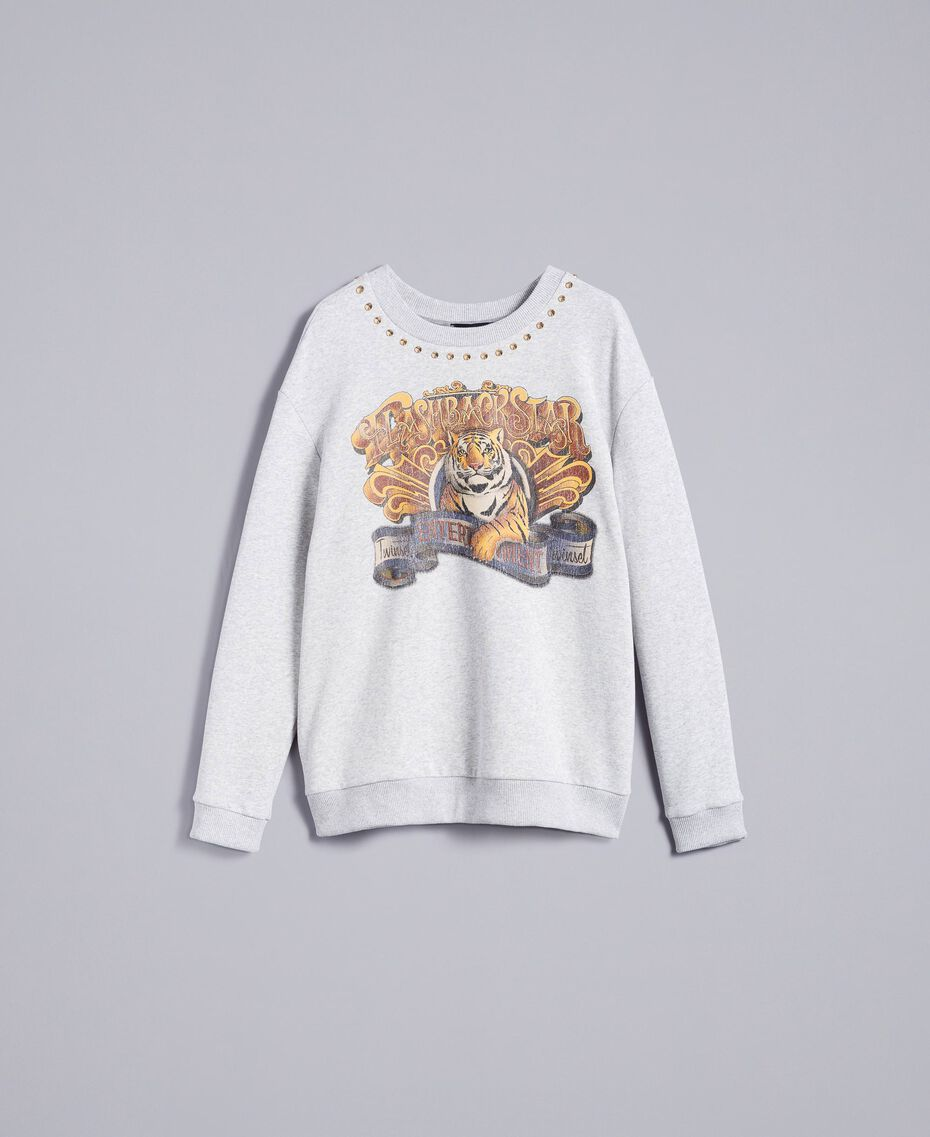Printed cotton sweatshirt Melange Grey Woman TA82ZB-0S
