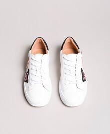 Baskets en cuir ornés de patchs papillons Blanc Femme 191TCP10E-05