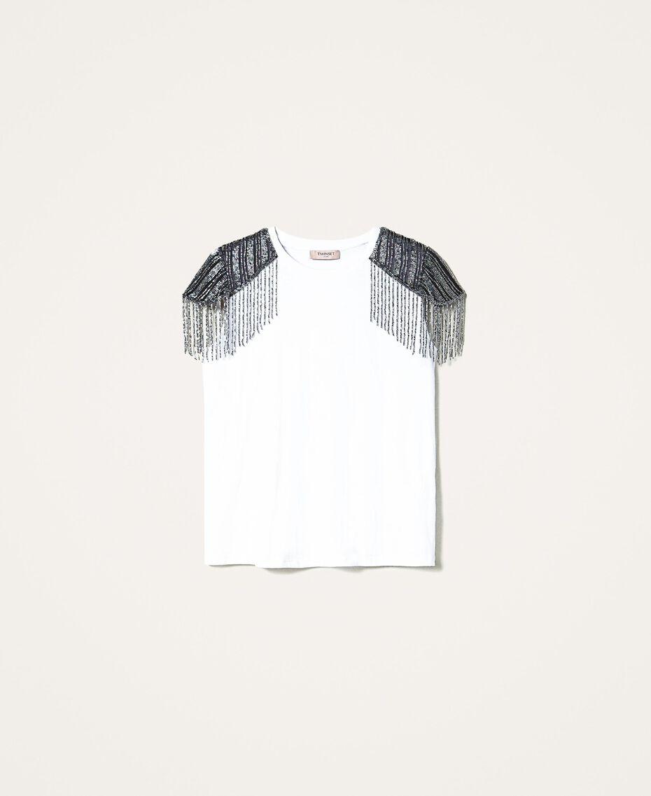 T-shirt avec tulle brodé et franges Blanc Femme 202TT246A-0S