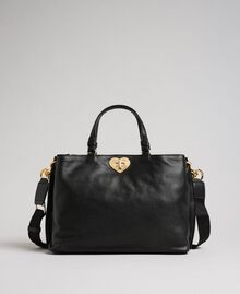 Petit cabas en cuir à bandoulière Noir Femme 192TO8091-01
