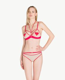 "Heart-motif triangle bra Two-tone ""Peach Powder"" Pink / Cherry Red Woman LS8E22-02"