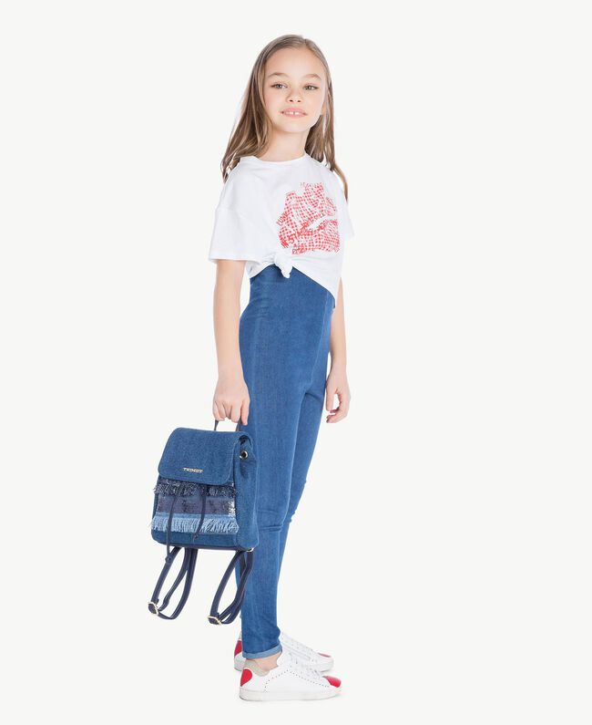 "Leggings jersey Blu ""Denim Medio"" Bambina GS82GR-05"