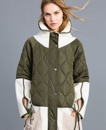 "Nylon and faux shearling parka Bicolour Forest Green / ""Snow"" White Woman TA82BQ-04"