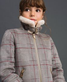 Printed faux shearling jacket Houndstooth Print Child 192GJ2300-02