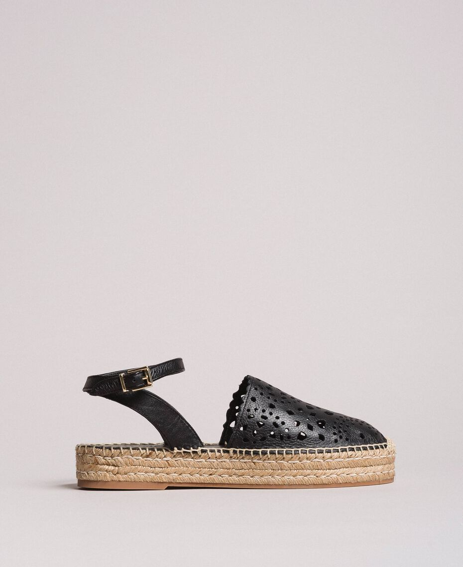Suede espadrilles with laser embroidery Black Woman 191TCP062-02
