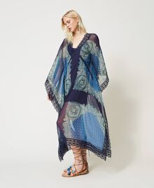 "Abito caftano con stampa foulard Stampa Foulard Cachemire ""Nautical Blue"" Donna 211TT268D-02"